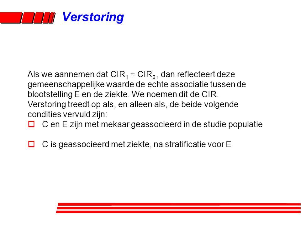 Als we aannemen dat CIR 1 = CIR 2, dan reflecteert deze gemeenschappelijke waarde de echte associatie tussen de blootstelling E en de ziekte.