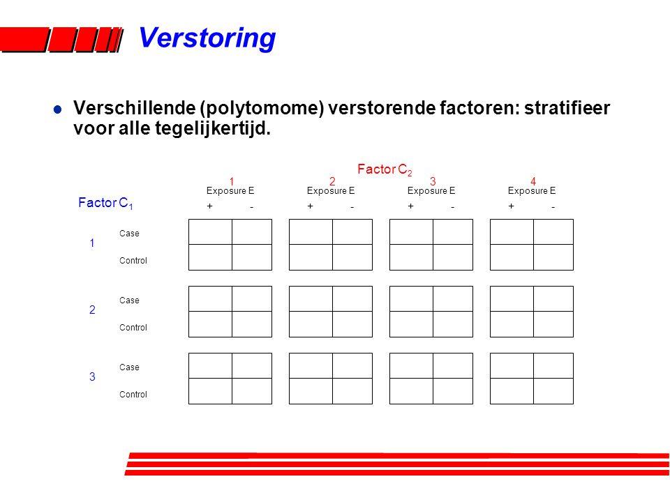 l Verschillende (polytomome) verstorende factoren: stratifieer voor alle tegelijkertijd.