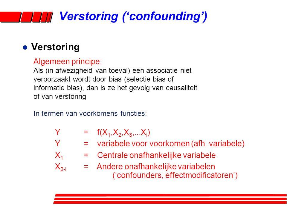 Verstoring ('confounding') l Verstoring Algemeen principe: Als (in afwezigheid van toeval) een associatie niet veroorzaakt wordt door bias (selectie bias of informatie bias), dan is ze het gevolg van causaliteit of van verstoring In termen van voorkomens functies: Y = f(X 1,X 2,X 3,...X i ) Y = variabele voor voorkomen (afh.