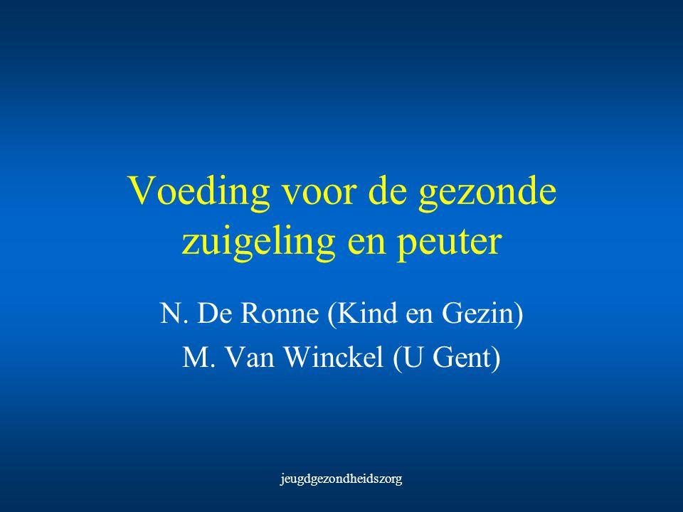 jeugdgezondheidszorg Voeding voor de gezonde zuigeling en peuter N. De Ronne (Kind en Gezin) M. Van Winckel (U Gent)