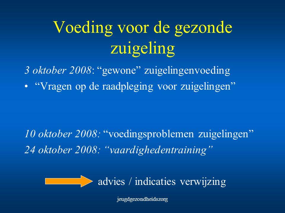 """jeugdgezondheidszorg Voeding voor de gezonde zuigeling 3 oktober 2008: """"gewone"""" zuigelingenvoeding """"Vragen op de raadpleging voor zuigelingen"""" 10 okto"""