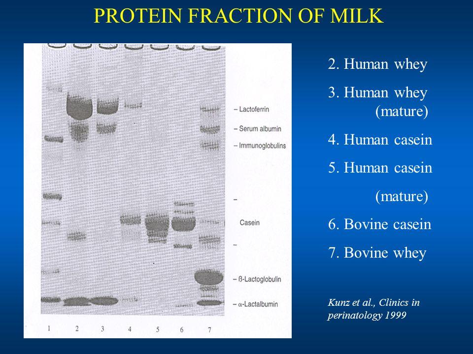 jeugdgezondheidszorg 2. Human whey 3. Human whey (mature) 4. Human casein 5. Human casein (mature) 6. Bovine casein 7. Bovine whey Kunz et al., Clinic