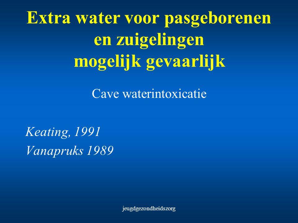 jeugdgezondheidszorg Extra water voor pasgeborenen en zuigelingen mogelijk gevaarlijk Cave waterintoxicatie Keating, 1991 Vanapruks 1989