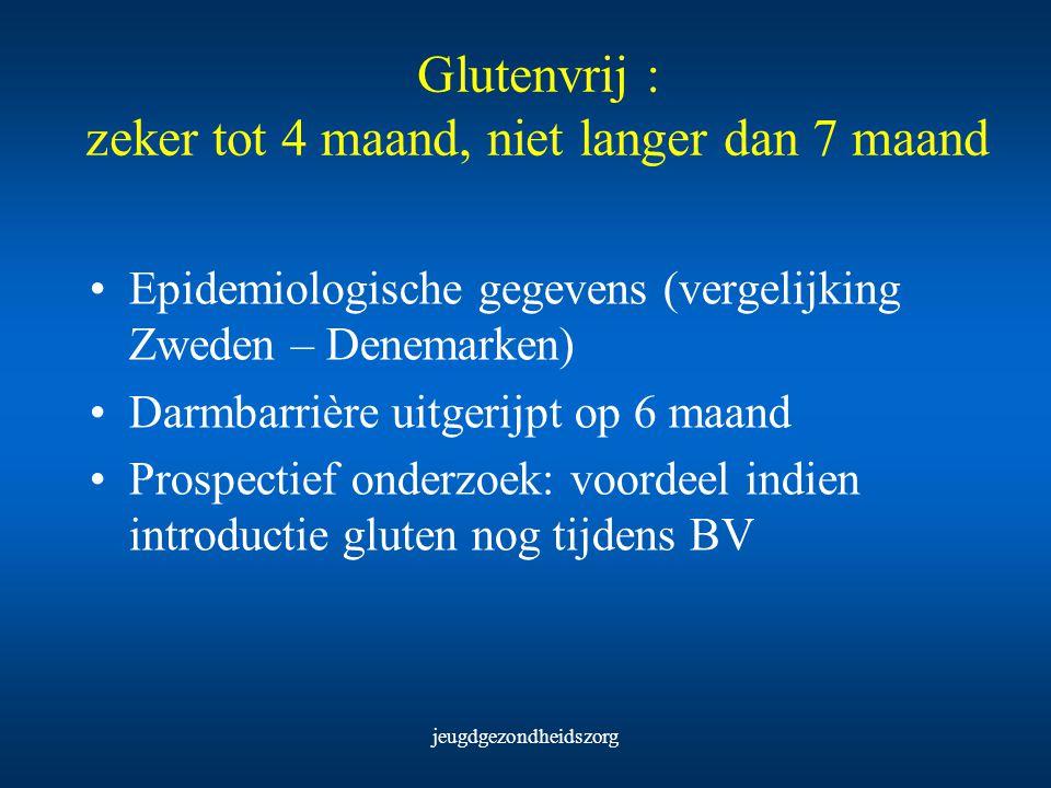 jeugdgezondheidszorg Glutenvrij : zeker tot 4 maand, niet langer dan 7 maand Epidemiologische gegevens (vergelijking Zweden – Denemarken) Darmbarrière