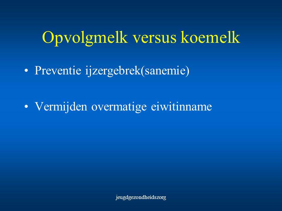jeugdgezondheidszorg Opvolgmelk versus koemelk Preventie ijzergebrek(sanemie) Vermijden overmatige eiwitinname
