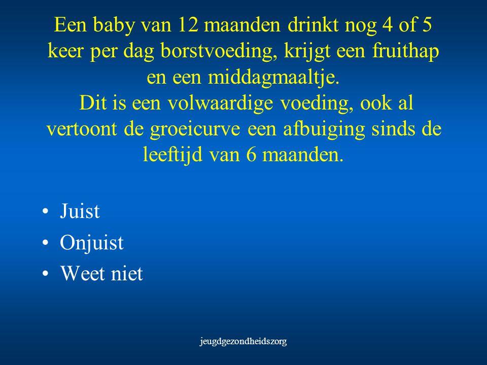 jeugdgezondheidszorg Een baby van 12 maanden drinkt nog 4 of 5 keer per dag borstvoeding, krijgt een fruithap en een middagmaaltje. Dit is een volwaar