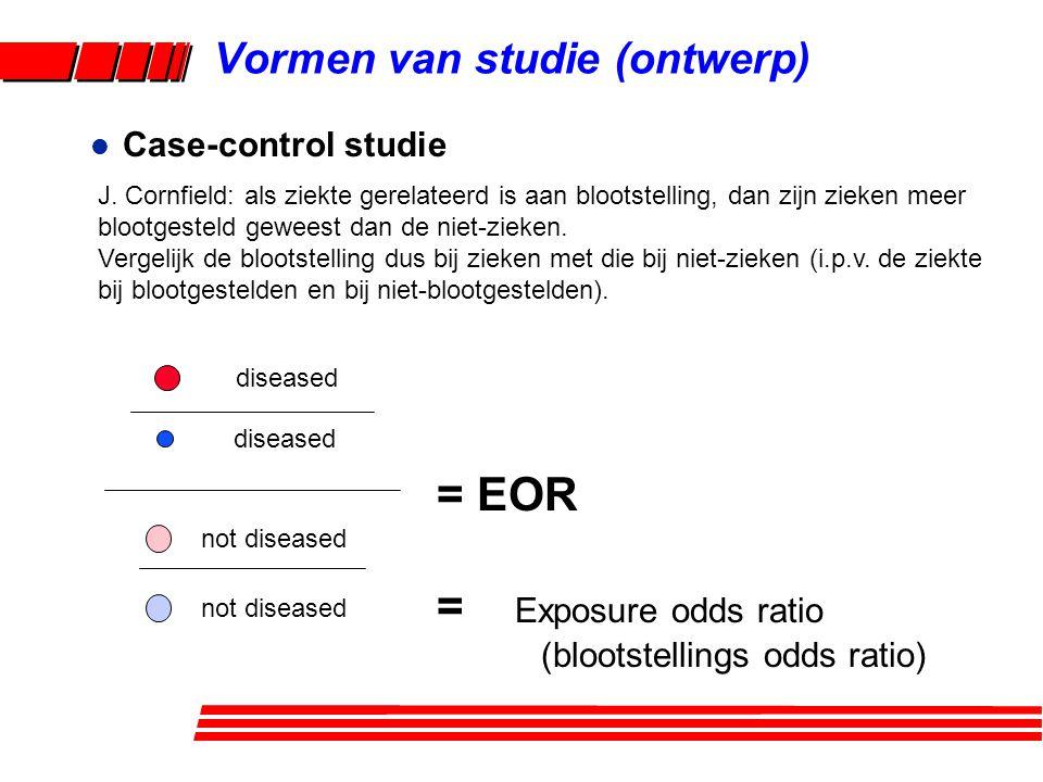 l Case-control studie = EOR = Exposure odds ratio (blootstellings odds ratio) diseased not diseased Vormen van studie (ontwerp) J.