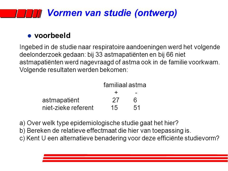 l voorbeeld Ingebed in de studie naar respiratoire aandoeningen werd het volgende deelonderzoek gedaan: bij 33 astmapatiënten en bij 66 niet astmapatiënten werd nagevraagd of astma ook in de familie voorkwam.
