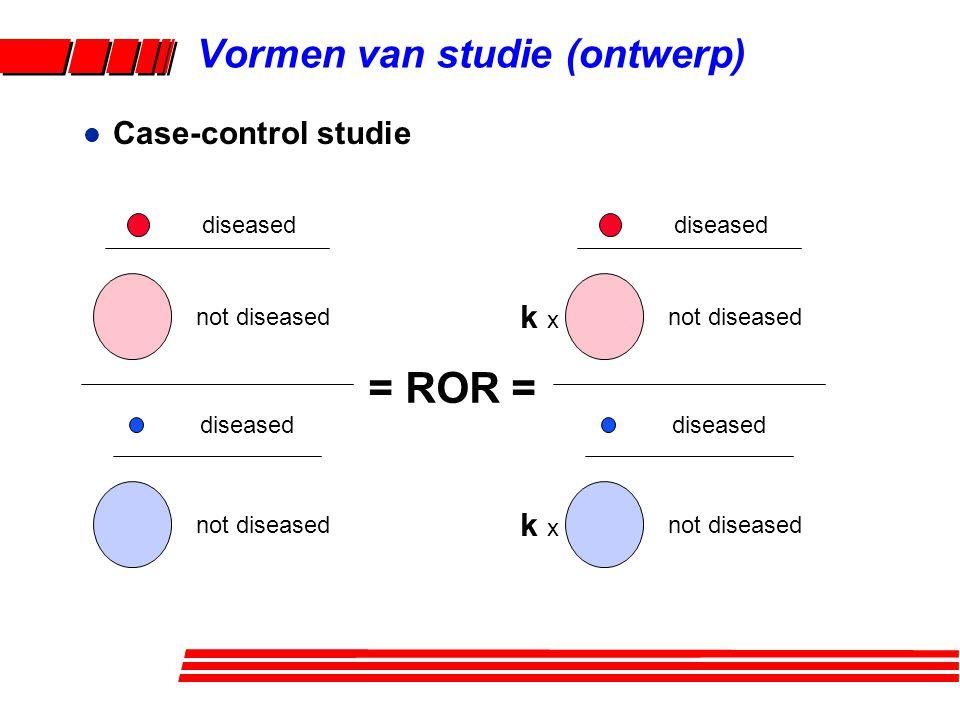 l Case-control studie k x diseased not diseased diseased not diseased = ROR = diseased not diseased diseased not diseased Vormen van studie (ontwerp)