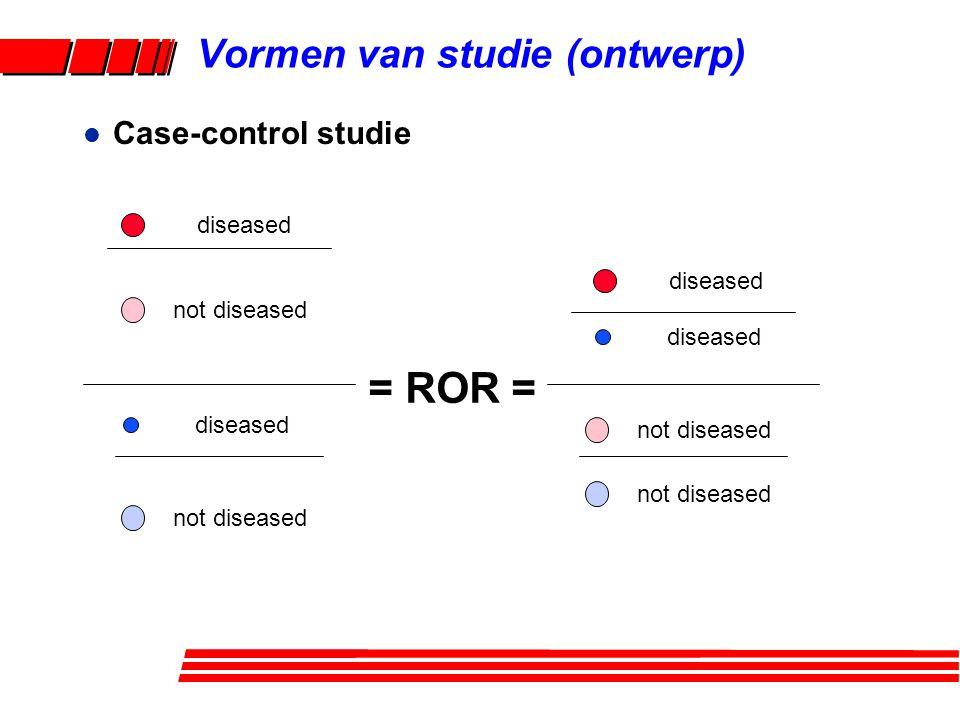 l Case-control studie = ROR = diseased not diseased diseased not diseased Vormen van studie (ontwerp)