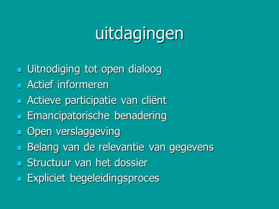 uitdagingen Uitnodiging tot open dialoog Uitnodiging tot open dialoog Actief informeren Actief informeren Actieve participatie van cliënt Actieve part