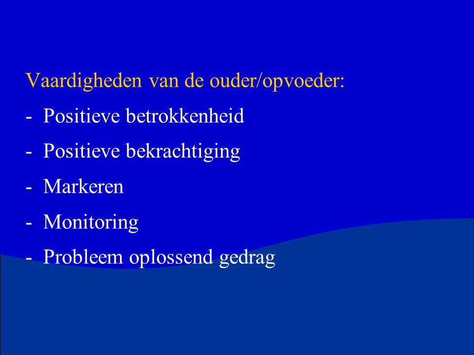 Vaardigheden van de ouder/opvoeder: -Positieve betrokkenheid -Positieve bekrachtiging -Markeren -Monitoring -Probleem oplossend gedrag