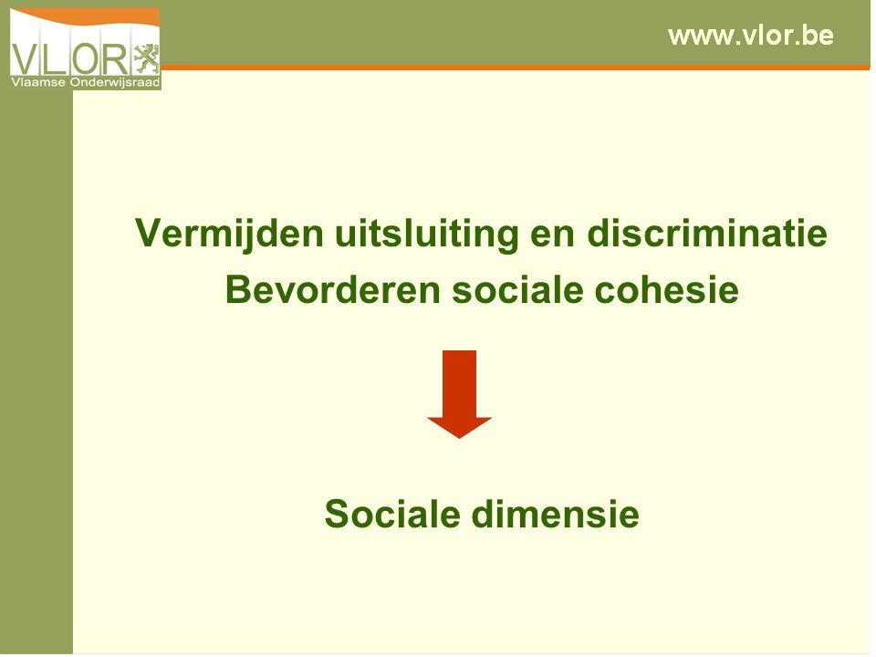Vermijden uitsluiting en discriminatie Bevorderen sociale cohesie Sociale dimensie