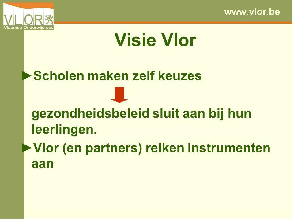 Visie Vlor ►Scholen maken zelf keuzes gezondheidsbeleid sluit aan bij hun leerlingen.