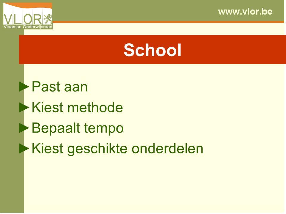 ►Past aan ►Kiest methode ►Bepaalt tempo ►Kiest geschikte onderdelen School