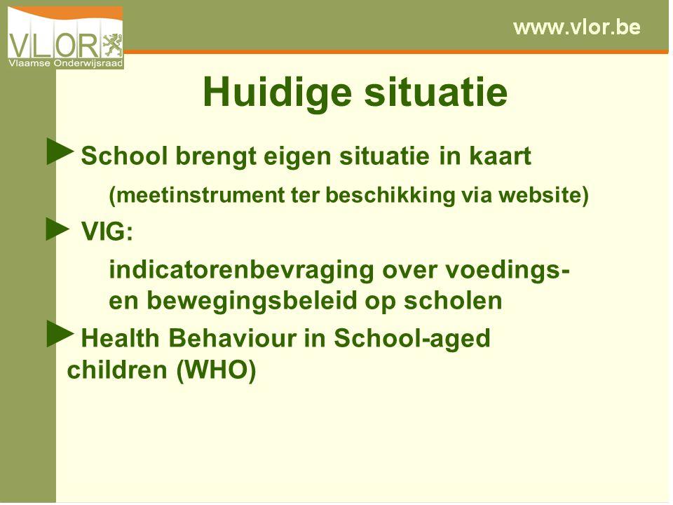 Huidige situatie ► School brengt eigen situatie in kaart (meetinstrument ter beschikking via website) ► VIG: indicatorenbevraging over voedings- en be