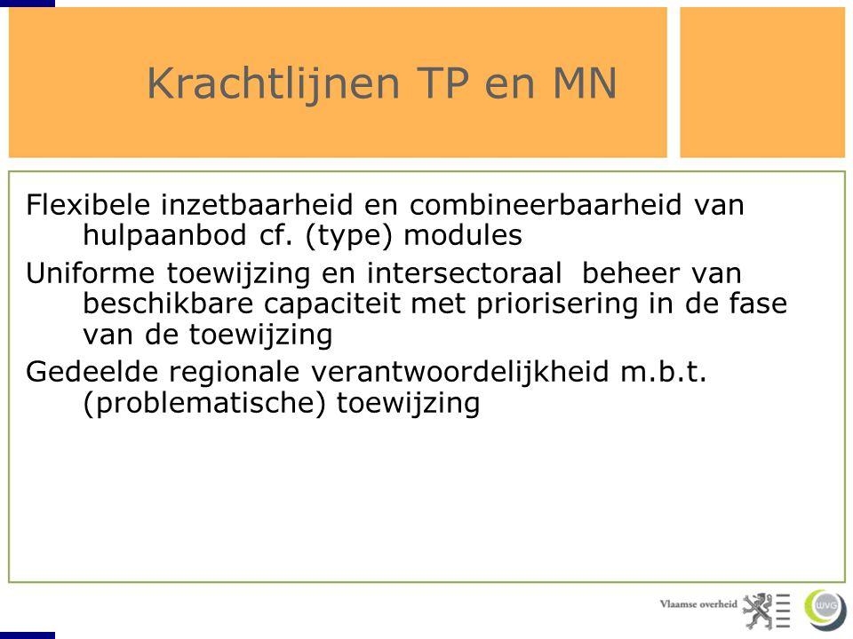 Krachtlijnen TP en MN Flexibele inzetbaarheid en combineerbaarheid van hulpaanbod cf. (type) modules Uniforme toewijzing en intersectoraal beheer van