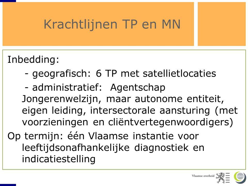 Krachtlijnen TP en MN Inbedding: - geografisch: 6 TP met satellietlocaties - administratief: Agentschap Jongerenwelzijn, maar autonome entiteit, eigen