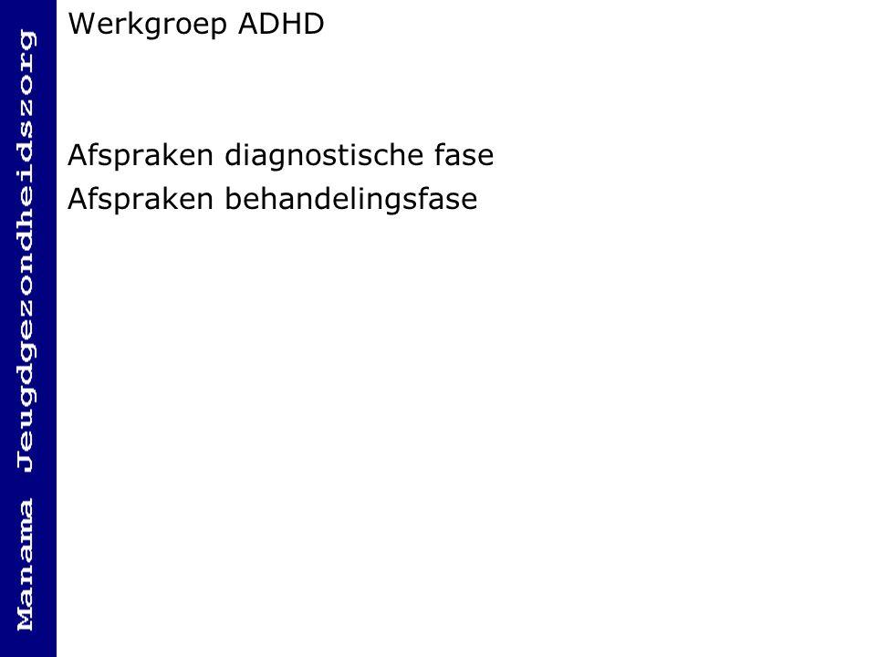 Werkgroep ADHD Afspraken diagnostische fase Afspraken behandelingsfase