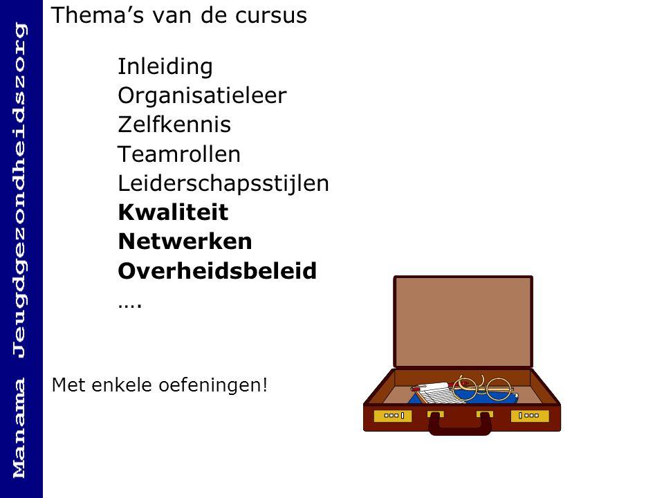 Thema's van de cursus Inleiding Organisatieleer Zelfkennis Teamrollen Leiderschapsstijlen Kwaliteit Netwerken Overheidsbeleid …. Met enkele oefeningen