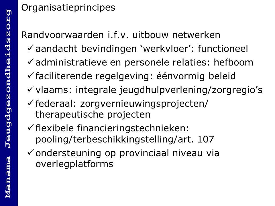 Organisatieprincipes Randvoorwaarden i.f.v. uitbouw netwerken aandacht bevindingen 'werkvloer': functioneel administratieve en personele relaties: hef