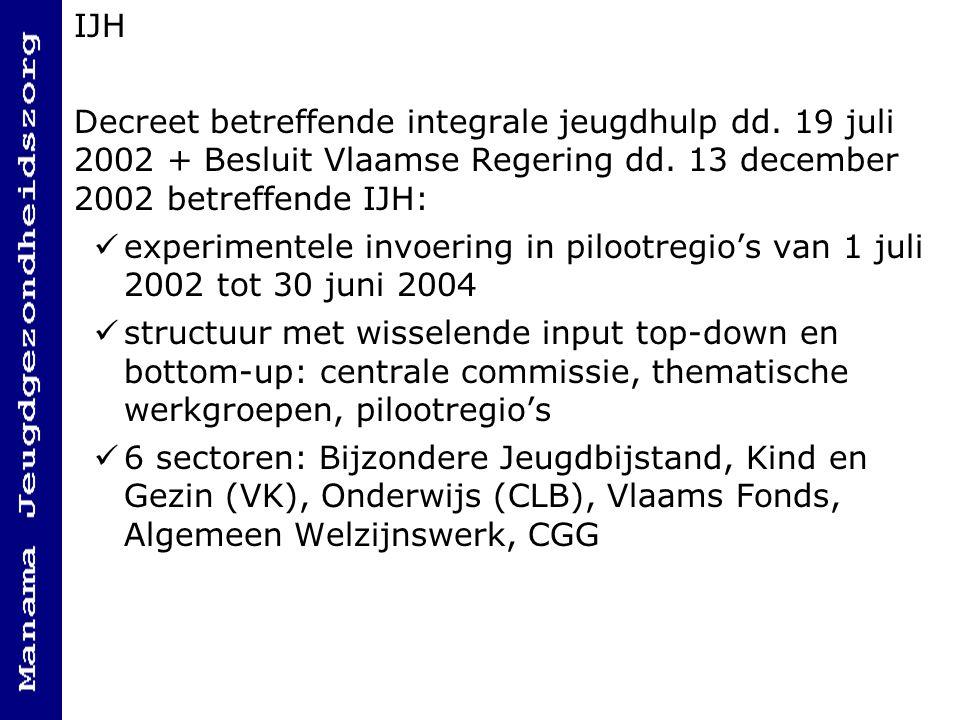 IJH Decreet betreffende integrale jeugdhulp dd. 19 juli 2002 + Besluit Vlaamse Regering dd. 13 december 2002 betreffende IJH: experimentele invoering