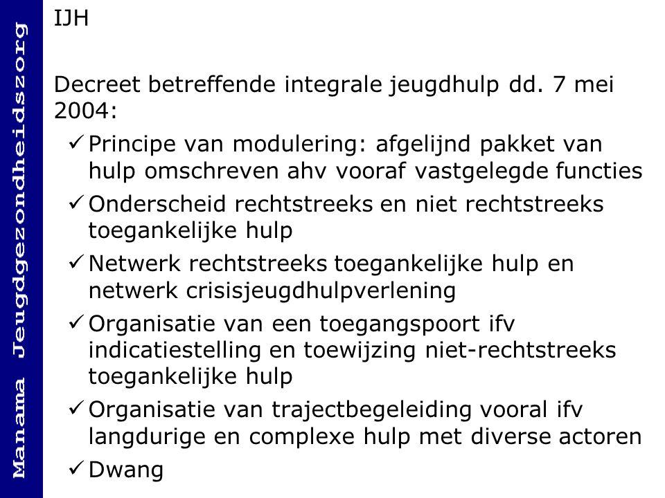 IJH Decreet betreffende integrale jeugdhulp dd. 7 mei 2004: Principe van modulering: afgelijnd pakket van hulp omschreven ahv vooraf vastgelegde funct