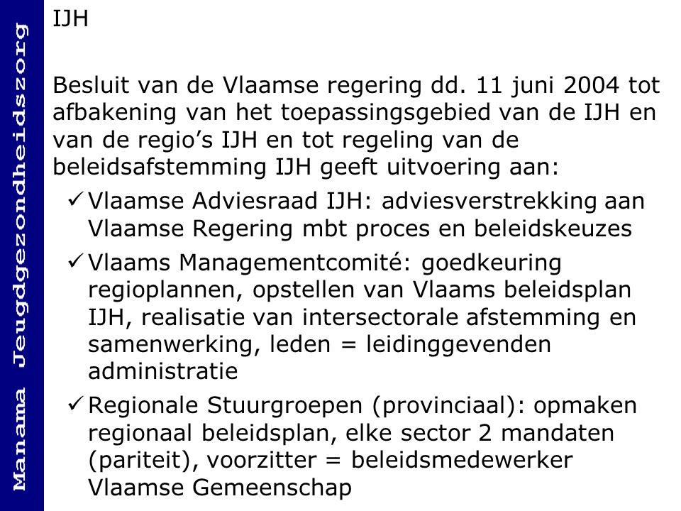 IJH Besluit van de Vlaamse regering dd. 11 juni 2004 tot afbakening van het toepassingsgebied van de IJH en van de regio's IJH en tot regeling van de