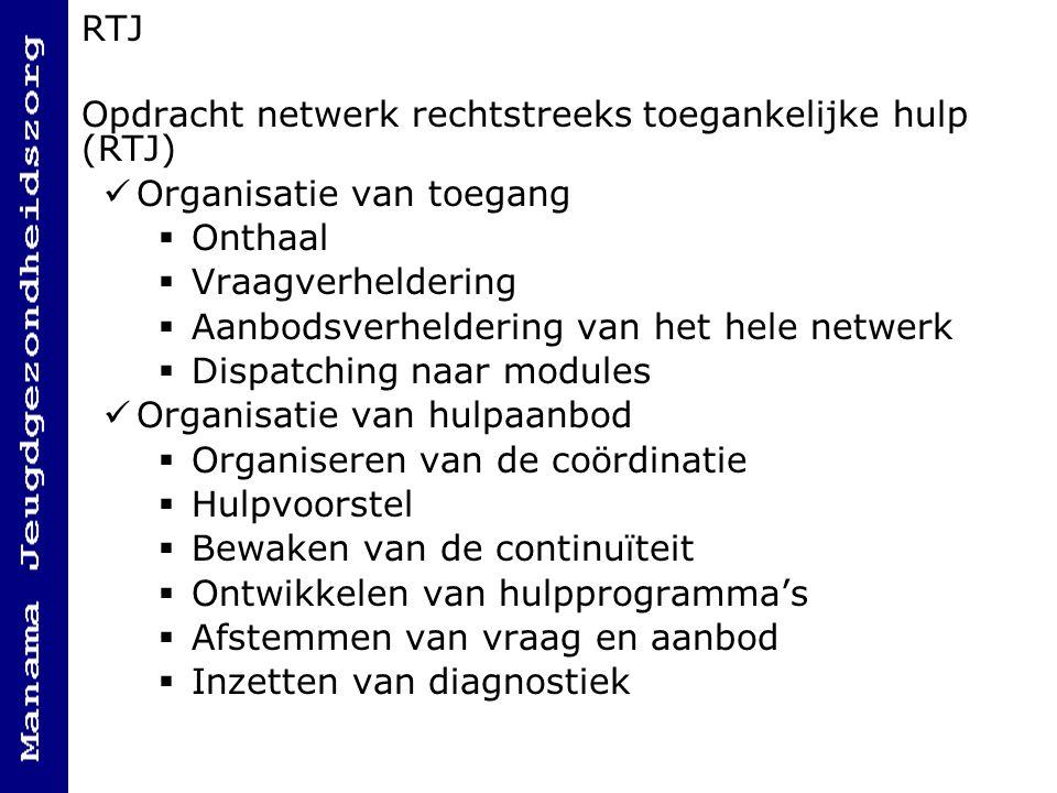 RTJ Opdracht netwerk rechtstreeks toegankelijke hulp (RTJ) Organisatie van toegang  Onthaal  Vraagverheldering  Aanbodsverheldering van het hele ne