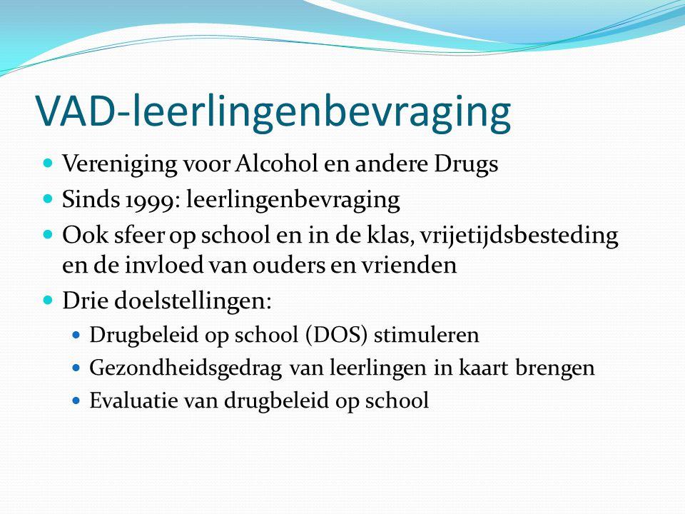 VAD-leerlingenbevraging Vereniging voor Alcohol en andere Drugs Sinds 1999: leerlingenbevraging Ook sfeer op school en in de klas, vrijetijdsbesteding