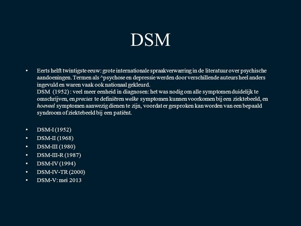 DSM Eerts helft twintigste eeuw: grote internationale spraakverwarring in de literatuur over psychische aandoeningen. Termen als ^psychose en depressi