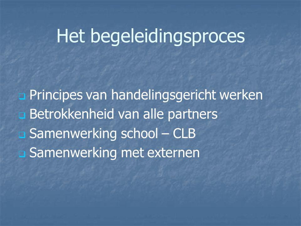 Het begeleidingsproces   Principes van handelingsgericht werken   Betrokkenheid van alle partners   Samenwerking school – CLB   Samenwerking met externen