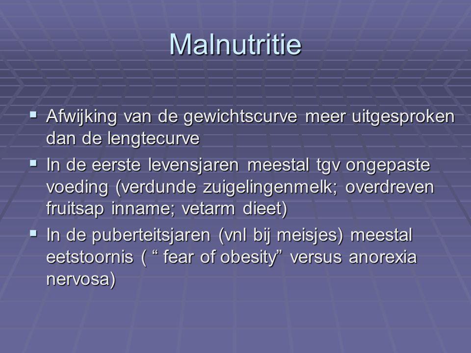 Malnutritie  Afwijking van de gewichtscurve meer uitgesproken dan de lengtecurve  In de eerste levensjaren meestal tgv ongepaste voeding (verdunde z