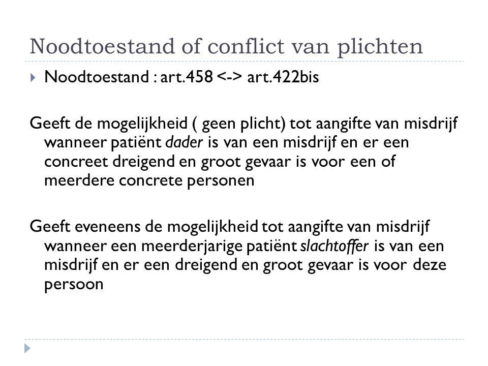 Noodtoestand of conflict van plichten  Noodtoestand : art.458 art.422bis Geeft de mogelijkheid ( geen plicht) tot aangifte van misdrijf wanneer patië