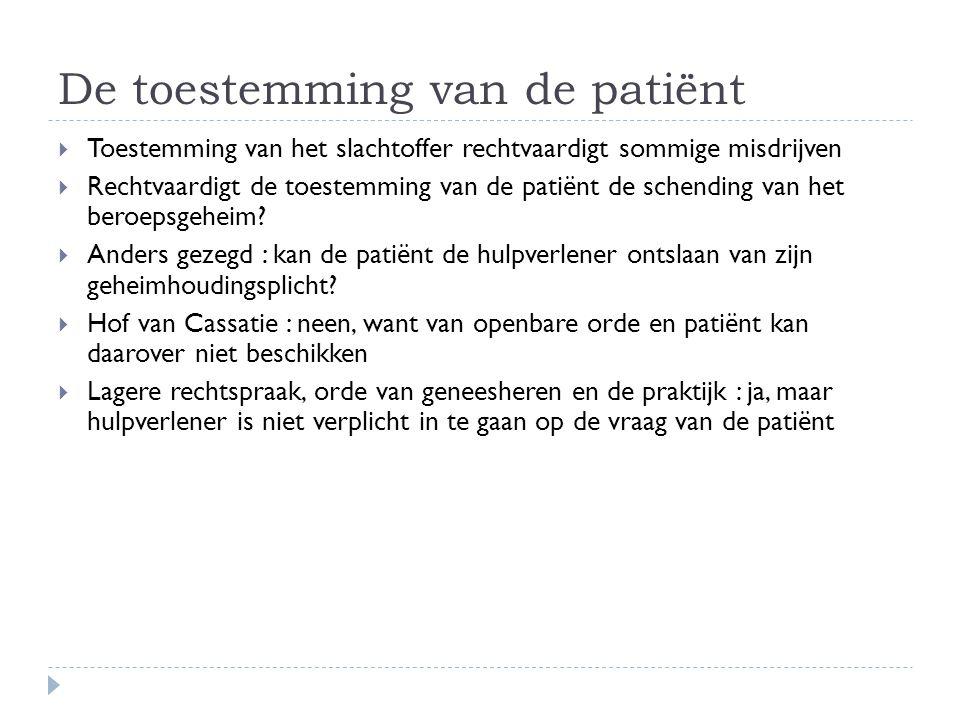 De toestemming van de patiënt  Toestemming van het slachtoffer rechtvaardigt sommige misdrijven  Rechtvaardigt de toestemming van de patiënt de sche
