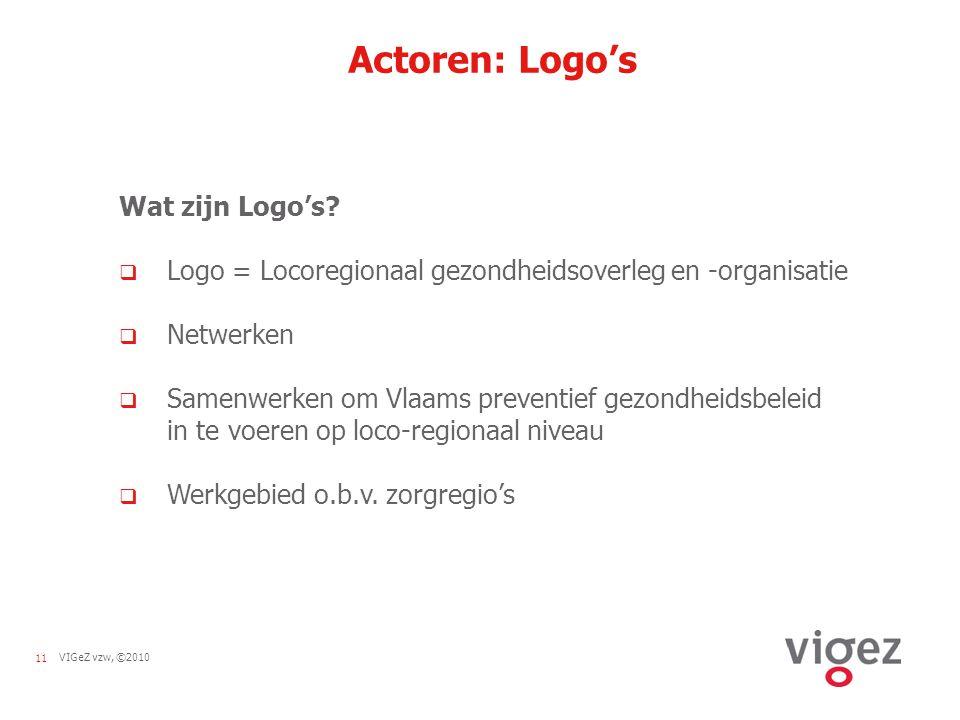 11VIGeZ vzw, ©2010 Actoren: Logo's Wat zijn Logo's.