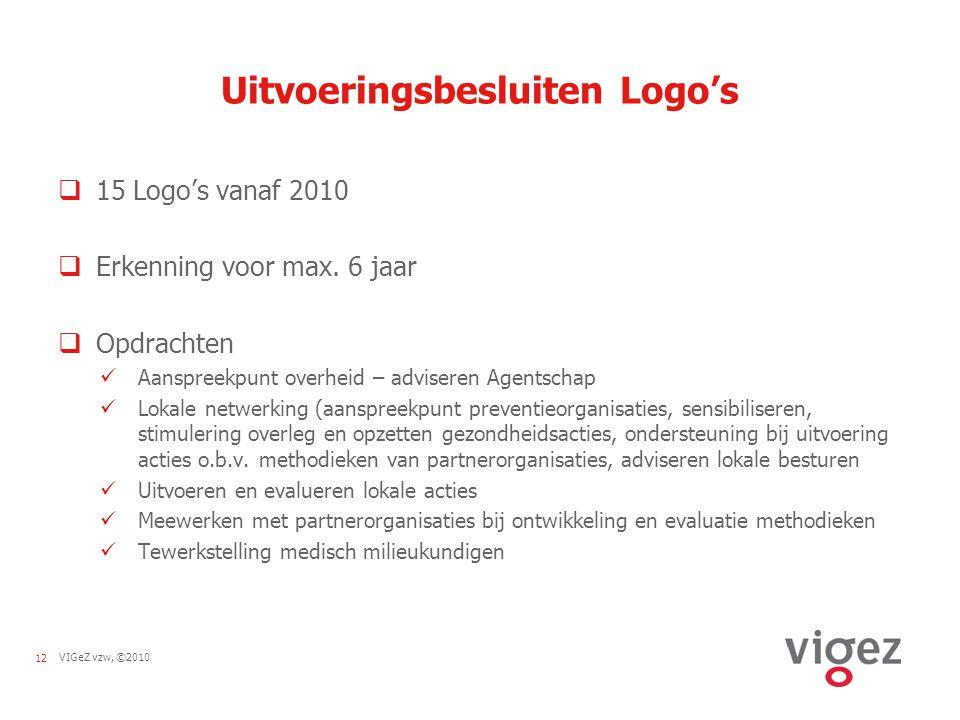 12VIGeZ vzw, ©2010 Uitvoeringsbesluiten Logo's  15 Logo's vanaf 2010  Erkenning voor max.