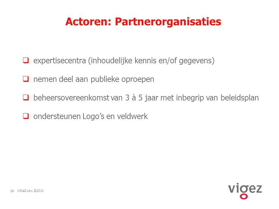 14VIGeZ vzw, ©2010 Actoren: Partnerorganisaties  expertisecentra (inhoudelijke kennis en/of gegevens)  nemen deel aan publieke oproepen  beheersovereenkomst van 3 à 5 jaar met inbegrip van beleidsplan  ondersteunen Logo's en veldwerk