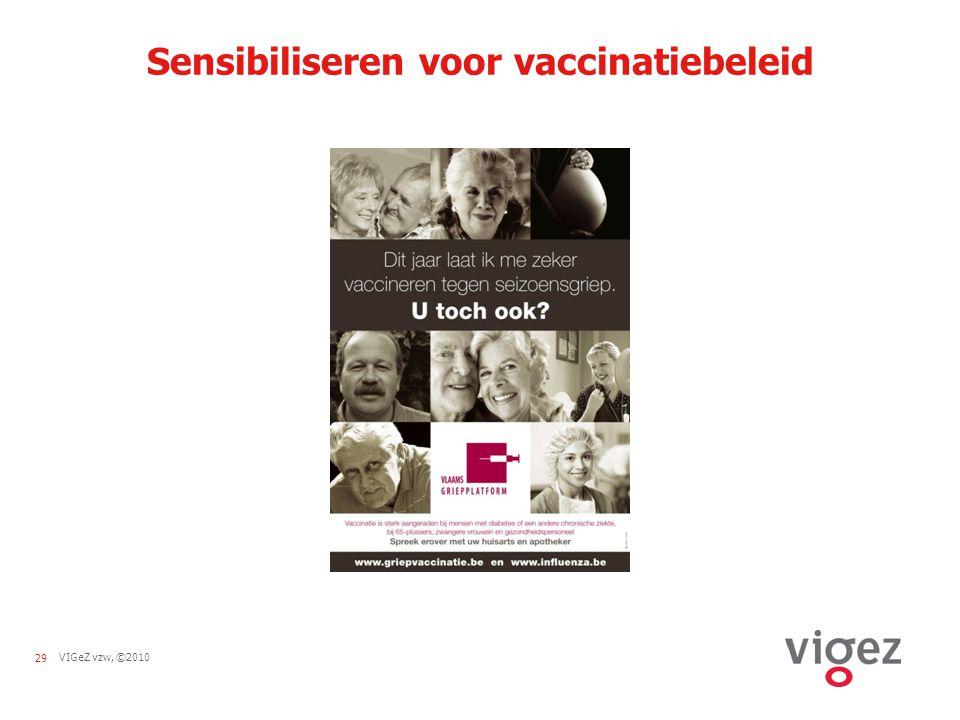 29VIGeZ vzw, ©2010 Sensibiliseren voor vaccinatiebeleid