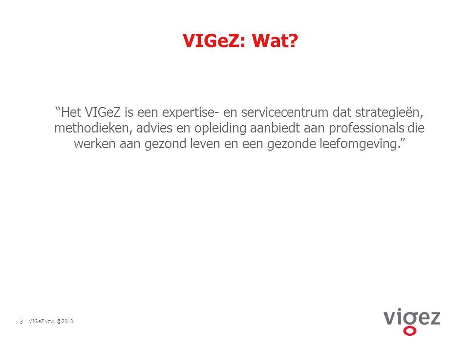4VIGeZ vzw, ©2010 Historiek 1991: VIG =koepelorganisatie 1997: VIG =expertisecentrum oprichting Logo's gezondheidsdoelstellingen 2003: preventiedecreet VIG =partnerorganisatie 2009: fusie met OCL VIG wordt VIGeZ