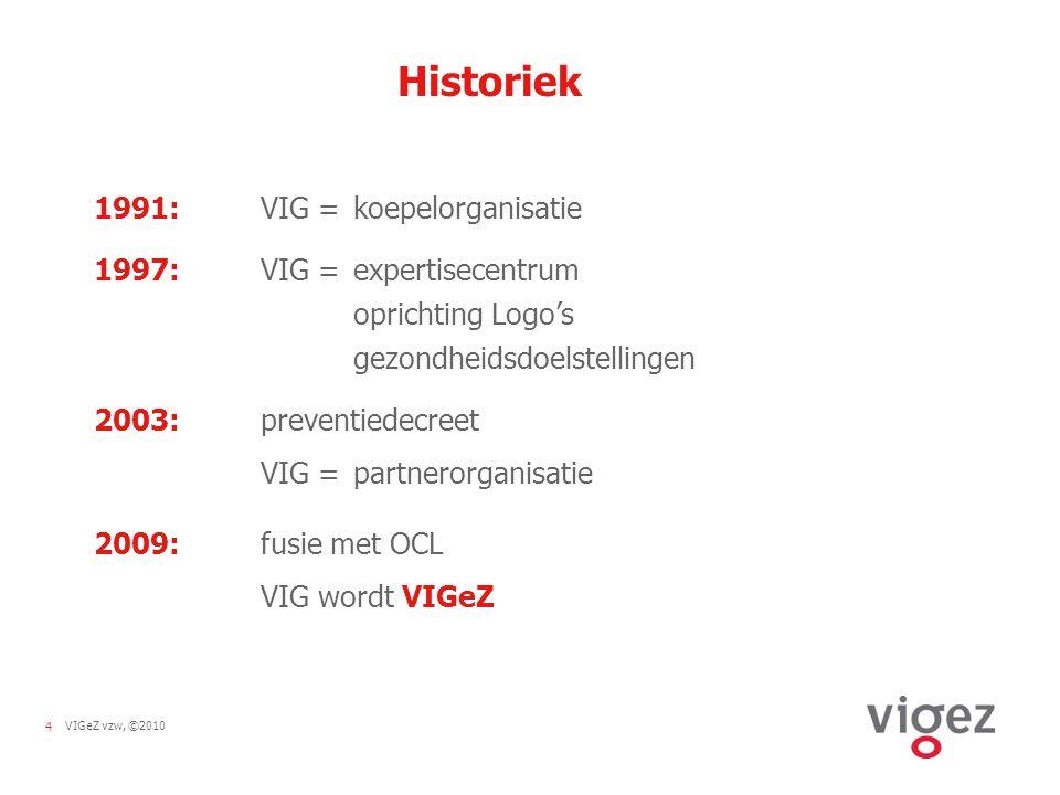5VIGeZ vzw, ©2010 Vlaamse gezondheidsdoelstellingen 1998-2002  Daling met 10 % van het aantal rokers, zowel bij mannen als bij vrouwen en specifiek bij jongeren  Significante daling van de consumptie van vetrijke voeding ten voordele van vetarme en vezelrijke voeding  Doelmatiger borstkankerscreening bij vrouwen: het aandeel screenings bij de doelgroep 50-69-jarigen neemt toe tot 80 % het aantal vrouwen uit de doelgroep dat bereikt wordt, neemt toe tot 75 %  Afname met 20 % van het aantal dodelijke ongevallen in de privésfeer en in het verkeer  Significante verbetering van de preventie van infectieziekten door verhoogde vaccinatiegraad voor polio, kinkhoest, tetanos, difterie, mazelen, bof en rubella
