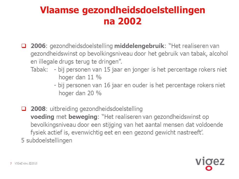 7VIGeZ vzw, ©2010 Vlaamse gezondheidsdoelstellingen na 2002  2006: gezondheidsdoelstelling middelengebruik: Het realiseren van gezondheidswinst op bevolkingsniveau door het gebruik van tabak, alcohol en illegale drugs terug te dringen .