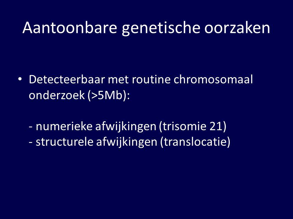 Aantoonbare genetische oorzaken Detecteerbaar met routine chromosomaal onderzoek (>5Mb): - numerieke afwijkingen (trisomie 21) - structurele afwijkingen (translocatie)