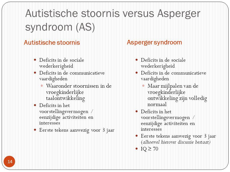 Autistische stoornis versus Asperger syndroom (AS) Autistische stoornis Asperger syndroom  14 Deficits in de sociale wederkerigheid Deficits in de co