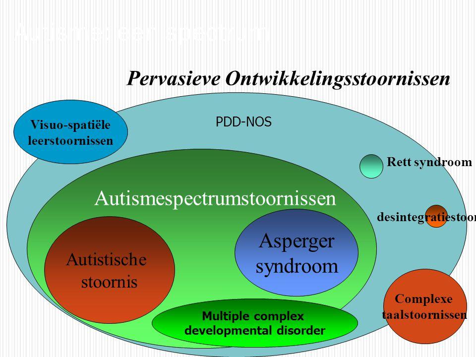 Autistische stoornis Asperger syndroom Rett syndroom Multiple complex developmental disorder desintegratiestoornis Pervasieve Ontwikkelingsstoornissen