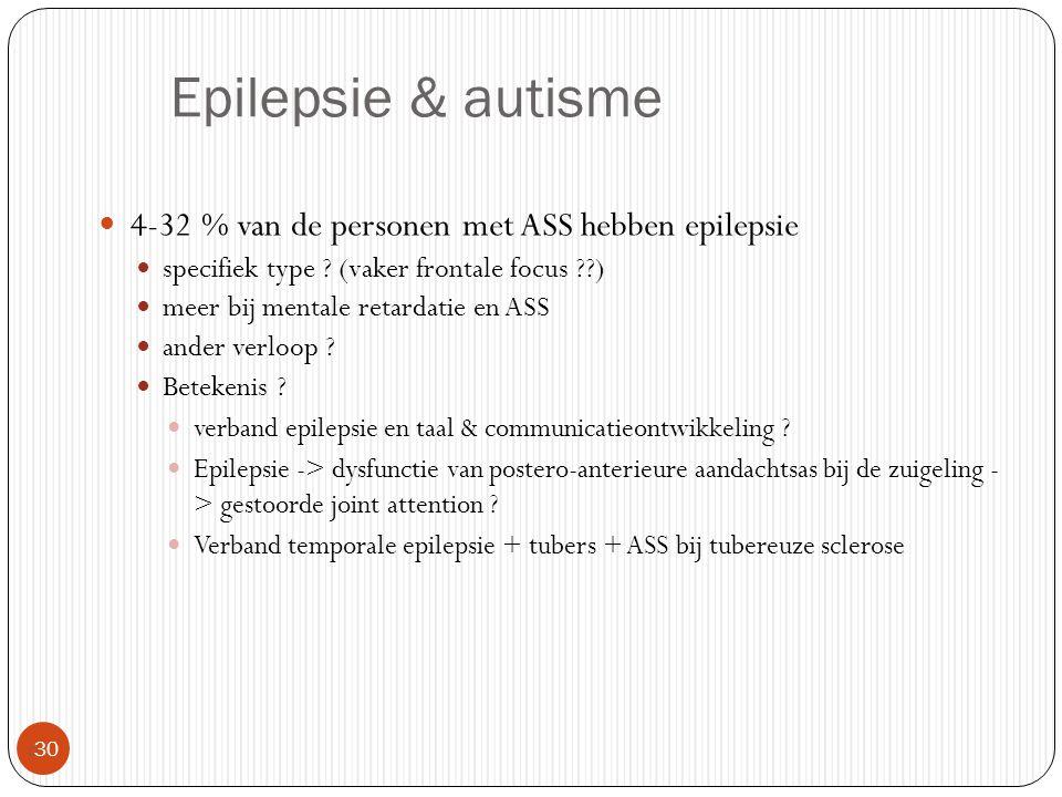 Epilepsie & autisme  30 4-32 % van de personen met ASS hebben epilepsie specifiek type ? (vaker frontale focus ??) meer bij mentale retardatie en ASS