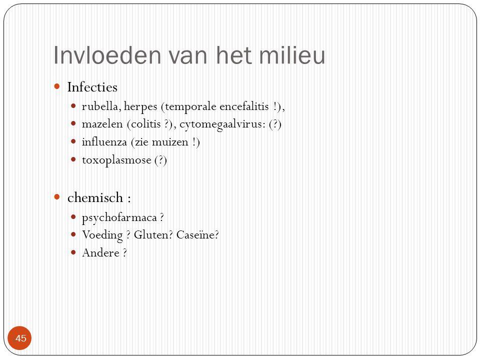 Invloeden van het milieu  45 Infecties rubella, herpes (temporale encefalitis !), mazelen (colitis ?), cytomegaalvirus: (?) influenza (zie muizen !)