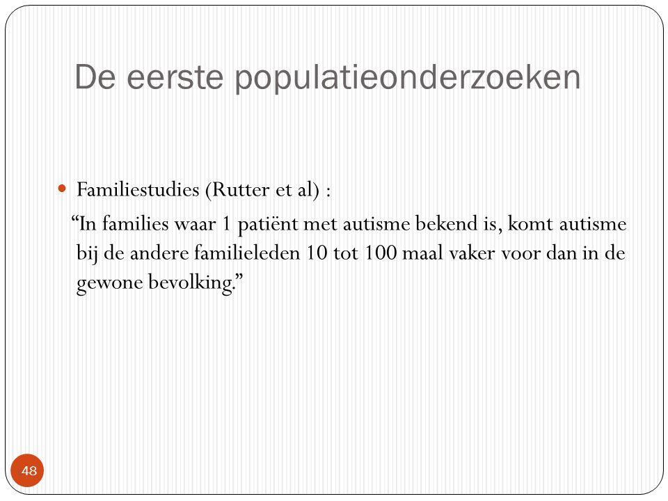 """De eerste populatieonderzoeken  48 Familiestudies (Rutter et al) : """"In families waar 1 patiënt met autisme bekend is, komt autisme bij de andere fami"""