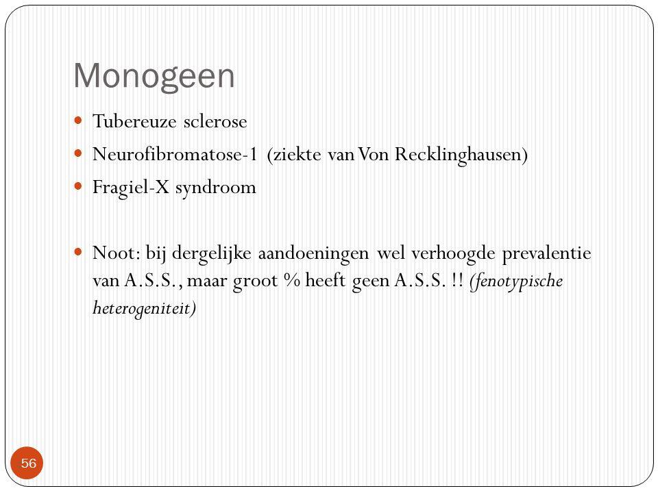 Monogeen  56 Tubereuze sclerose Neurofibromatose-1 (ziekte van Von Recklinghausen) Fragiel-X syndroom Noot: bij dergelijke aandoeningen wel verhoogde