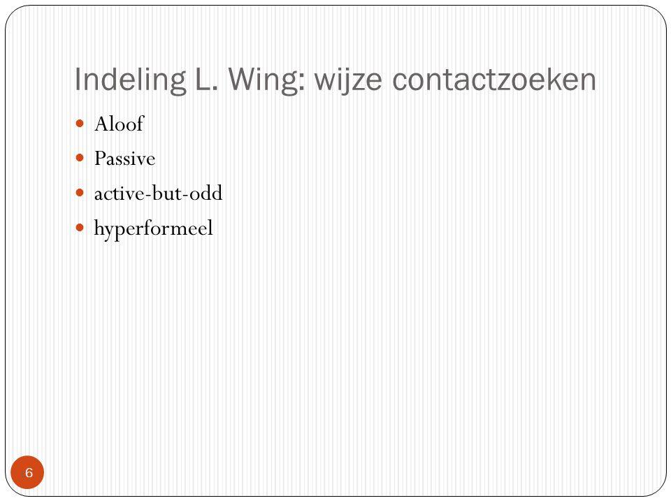 Indeling L. Wing: wijze contactzoeken 66 Aloof Passive active-but-odd hyperformeel